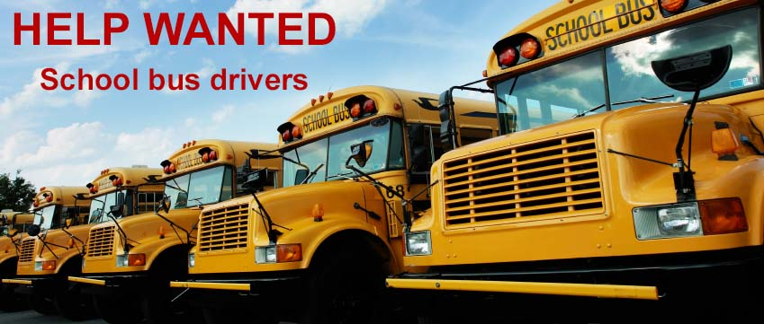 School Bus Drivers Help Wanted sign