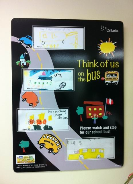 Think of us on the Bus display board